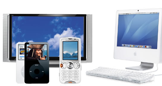 Picture showing a television, some MP3 players, a mobile phone and a computer