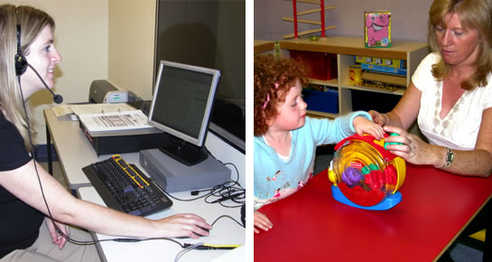 Woman programming speech processor on computer (left) and woman and child engaged in play activities (right)